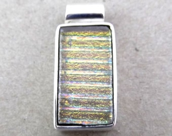 One of a Kind Sterling Silver & Dichroic Glass Pendant - Bargain (D6)