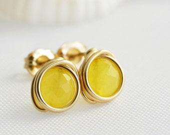 Yellow Jade Post Earrings, Yellow Studs, Lemon Zest, Daffodil, Handmade