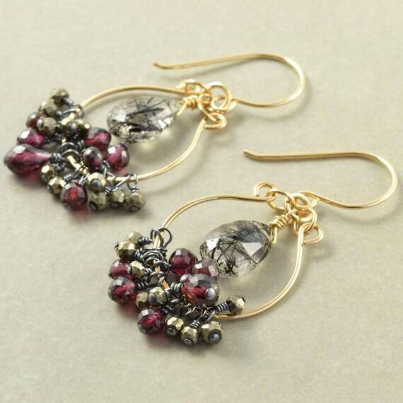 Garnet Tourmalated Quartz Hoops, Gemstone Hoop Earrings