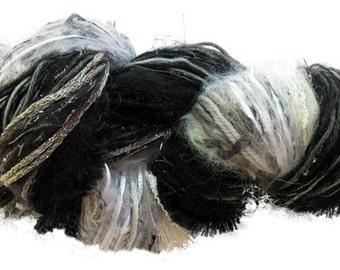 Scraplet Skeins unique multi-textured hand-tied art yarn in Fade to Black- 120 yds.