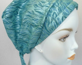 English Traditions Chemo Scarf Women's Classic Teal Fitted Cancer Hat Turban Hair Loss Alopecia