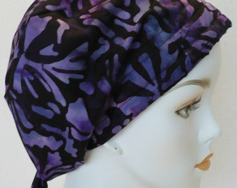 English Traditions Batik Hand Dyed Floral Cancer Hat Chemo Scarf Head Wrap Alopecia Turban