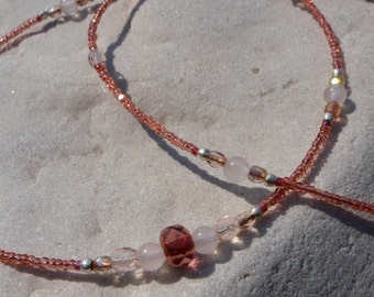 Rose Quartz and Pink Crystal Beaded Necklace
