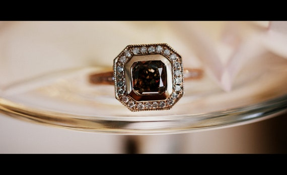 Reserved -1ct  VS2 Asscher cut Cognac diamond ring 14k rose gold-1st payment