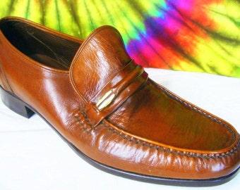 11 D mens vtg brown leather FLORSHEIM IMPERIAL loafers shoes NOS