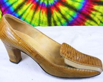 5.5-6-6.5 vintage 60's tan lizard skin Juliano square toe pumps heels shoes extra narrow