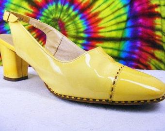 7-7.5 vintage 60's yellow patent leather Florsheim slingback heels cap-toe pumps shoes narrow