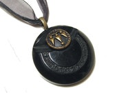 Black Bakelite Vintage Button Necklace Spiked Arrows