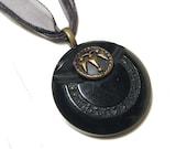 Black Bakelite Vintage Button Necklace Spiked Arrows