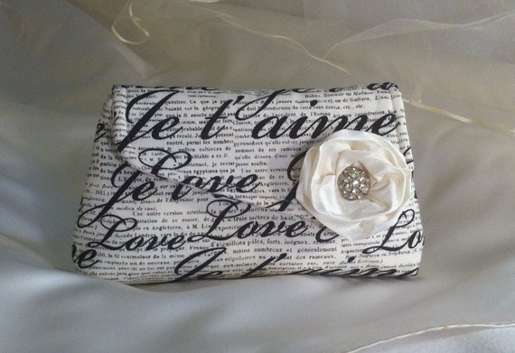 Bridesmaid Clutches Wristlet Your Color Choice Je t'aime Bridesmaid Clutch Purse, Bridesmaids Gift, Wedding Clutch