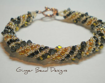 Beautiful Bronze and Copper Russian Spiral Bracelet