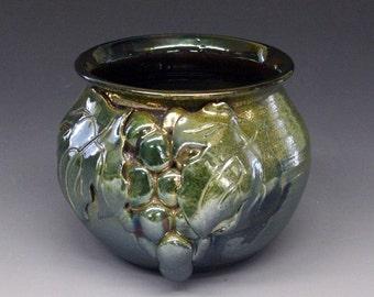 Raku Pot, raku pottery with Grapes. Grape Leaves in Green Iridescent Colors