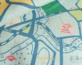 Berlin Map by Marie Jacobi (Blue)-Japanese cotton linen fabric (0.5 yard)