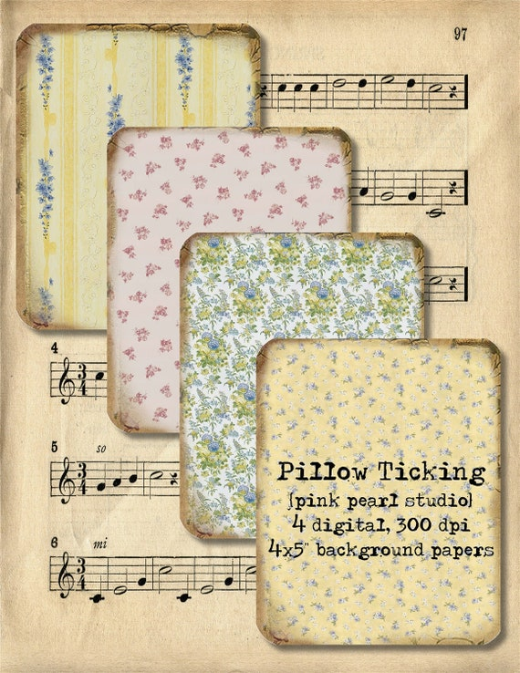 Set of 4, 4x5 Digital Four Layers of Vintage Pillow Ticking Background Papers for Collage, Tags, paper crafting