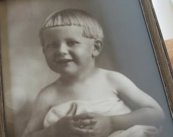 Antique Framed Photographic Portrait of Young Boy