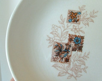 Vintage Dish with rooster and flowers in blue and brown