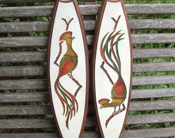 Pair of  Vintage Angeli Artcraft Chalkware Wall Hangings BIRDS