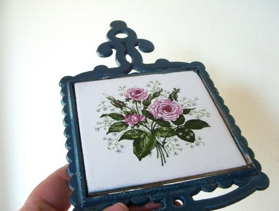 Vintage Cast Iron Ceramic Tile Trivet Wall Hanging Blue with Pink Roses