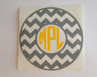 "Chevron Monogram Decal 5"" Sticker"