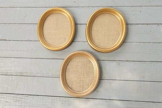 Vintage Frames Gold Picture Frame Oval Wedding Photos French Country Farmhouse Pottery Barn Style Frame Collection Set of 3
