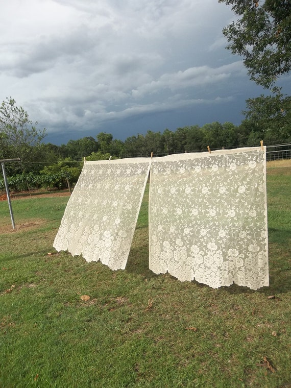 Vintage Lace Curtains Panel French Country Farmhouse Corrage