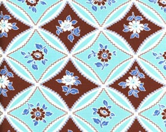 Jennifer Paganelli JP10 Bell Bottoms Mary Trellis Turquoise Cotton Fabric 1 Yard