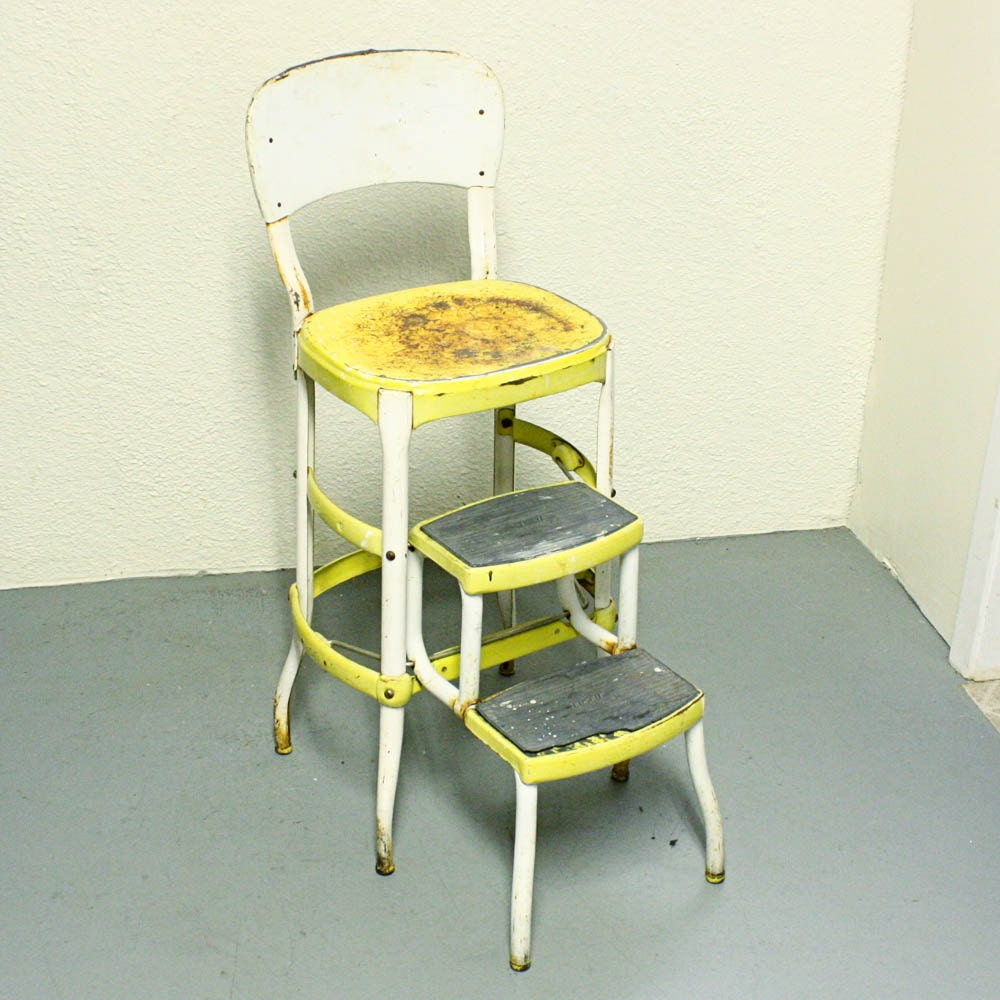 Vintage stool step stool kitchen stool cosco chair for Kitchen chairs