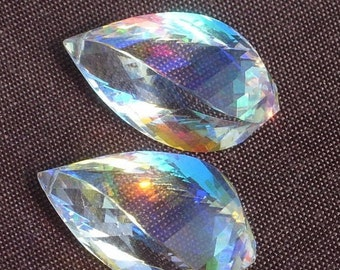 Matched Pair - Extremely Beautiful Lustrous AAA Rainbow Quartz Faceted Fancy Spiral Briolettes Size 23x13mm approx