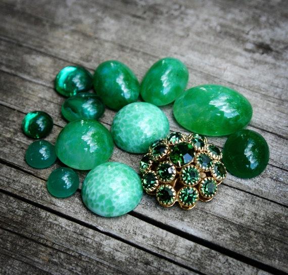 Destash- Vintage Green Glass/Swarovski Cabochon Mix G12-1