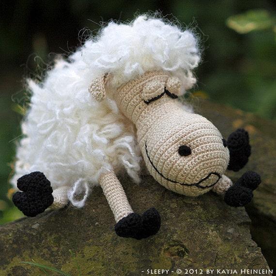 crochet pattern sleepy sheep by Katja Heinlein pdf tutorial amigurumi by Katja Heinlein, farm, lamp animal file crochet figure ebook easter