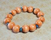 Wooden Bead Bracelet Tan and Teal OOAK