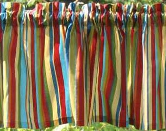 Blue Yellow Green Red Stripes Stripe Curtain Valance