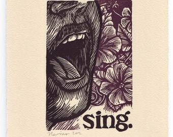 sing.   A linocut print on Arches cream paper.