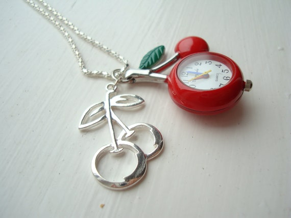 Red Cherry and Silver Cherry Pocket Watch Locket Necklace