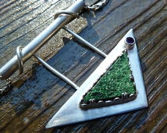 Druzy Uvarovite and Amethyst Sterling Silver Pendant