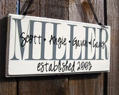 Large Personalized Family Wood Sign Home Decor Established Date 6X24