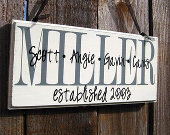 Family Name Wood Sign Home Decor Established Date...