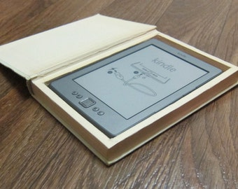 Carry your Kindle hidden inside a real book Kindle holder carrying case Upcycled hollow book eBook Safe