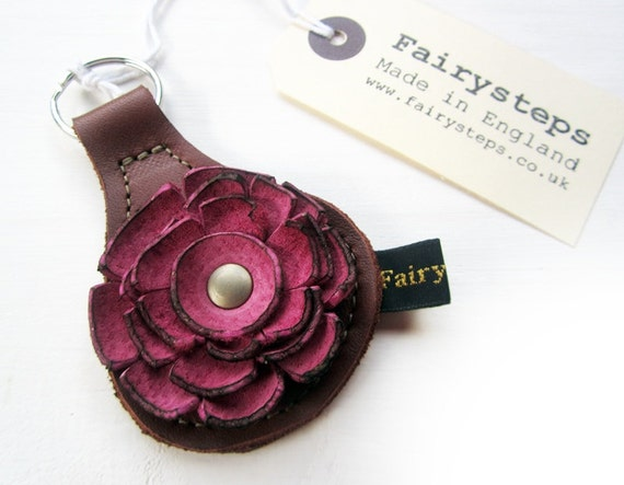 Handmade leather Key Fob, Key ring, Conker brown, Damask rose leather, RAGGLEBLOOM by Fairysteps