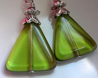 Green  Earrings, Glass Triangle Earrings, Dangle Earrings