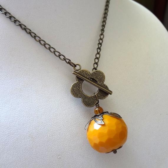 Pumpkin Necklace, Orange Agate Necklace