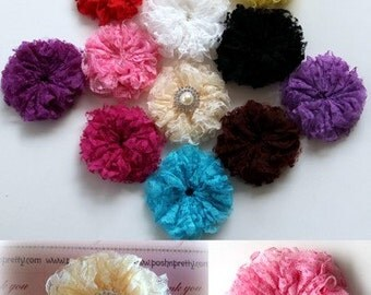 "Five NEW 3"" FLUFFY Lace Flowers. No centers attached - CHOOSE Colors"