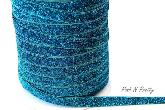 5/8 Glitter Stretch Velvet Elastic 5 YARDS - NO FLAKE - Turquoise