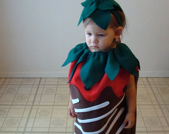 Kids Costume Halloween Costume Chocolate Covered Strawberry Childrens Food Photo Prop Purim