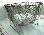 Treasury Item - Vintage Wire French Egg Basket