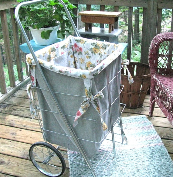 Treasury Item - Flea Market Cart Custom Liner - Shabby French Prairie Cottage - Roses - Pansies