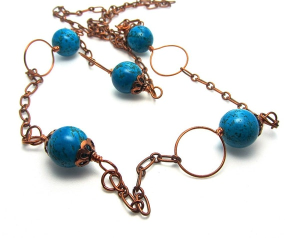 Long chain necklace - deep turquoise magnesite - copper beaded necklace - One Of A Kind