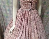 Vintage Lanz Original dress dirndl sweatheart style 1960s heart print RWB