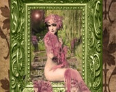 Fine Art Print 8.5 x 11 digitally altered image of Ziegfeld Follies beauty sitting in a picture frame, Claudia Dell, in greens and pinks