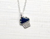 Tiny handmade silver cupcake pendant in blueberry enamel